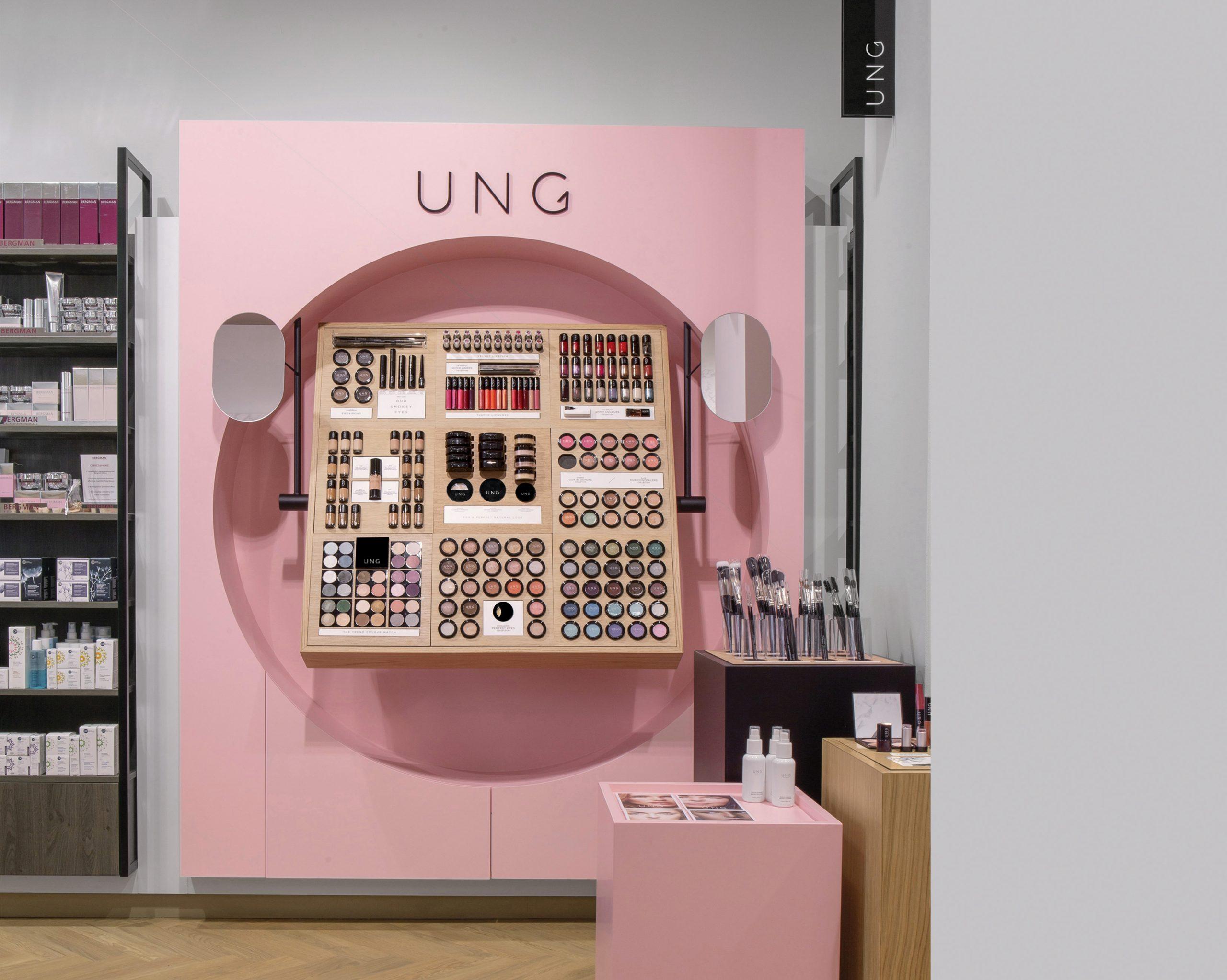 client; ung cosmetics project; ung shopinshop concept winkel in Den haag